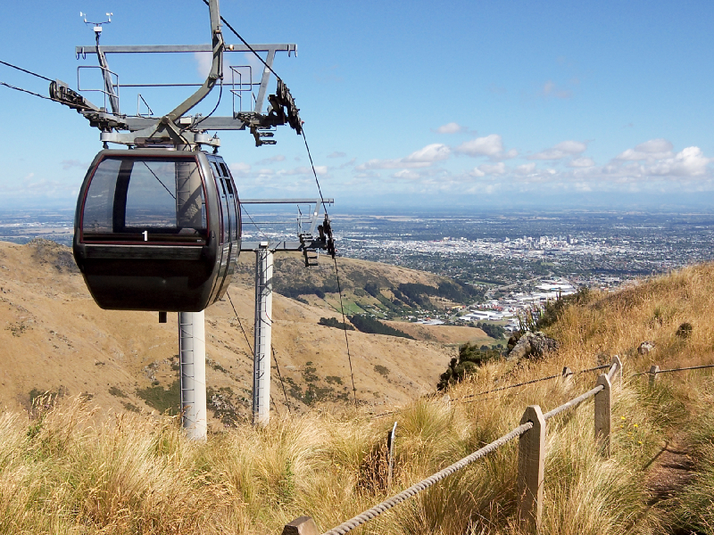 Cable car on Port Hills, Christchurch.
